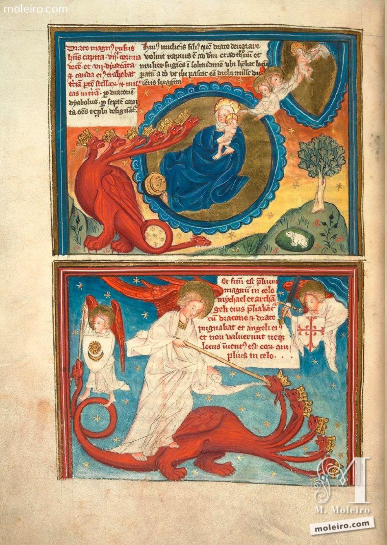 f. 20v Visión de la Mujer y el Dragón (Ap. 12, 1-6 y Ap. 12, 7-8) 'Un gran signo apareció en el cielo: una Mujer, vestida del sol, con la luna bajo sus pies [...]. El Dragón se detuvo delante de la Mujer que iba a dar a luz, para devorar a su Hijo en cuanto lo diera a luz' 'Entonces se entabló una batalla en el cielo: Miguel y ... Apocalipsis y vida de San Juan en imágenes. Siglo XV