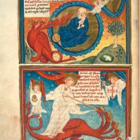 f. 20v · The Woman and the Dragon. The great battle in heaven. (Ap. 12, 1-6 and Ap. 12, 7-8)