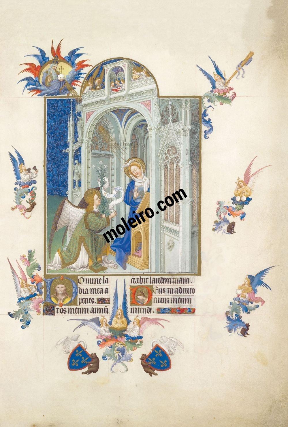Las Muy Ricas Horas del duque Jean de Berry f. 26v, La Anunciación