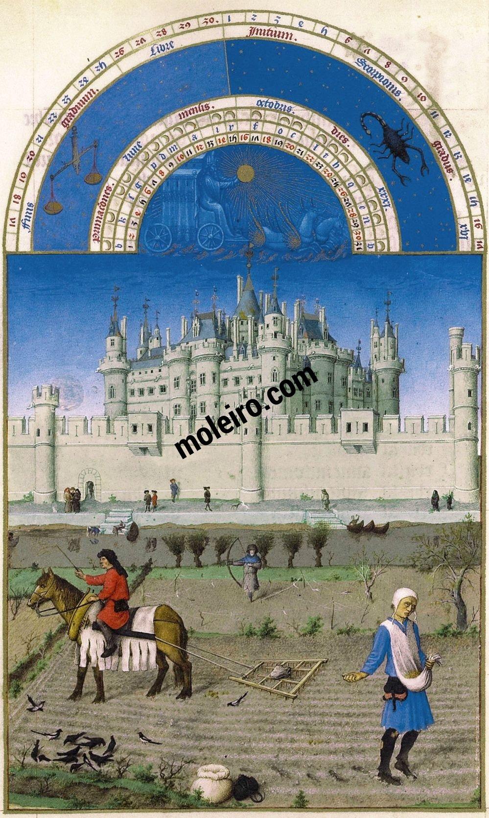 Las Muy Ricas Horas del duque Jean de Berry f. 10v, Octubre