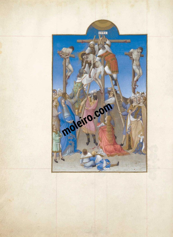 Las Muy Ricas Horas del duque Jean de Berry f. 156v, Descendimiento