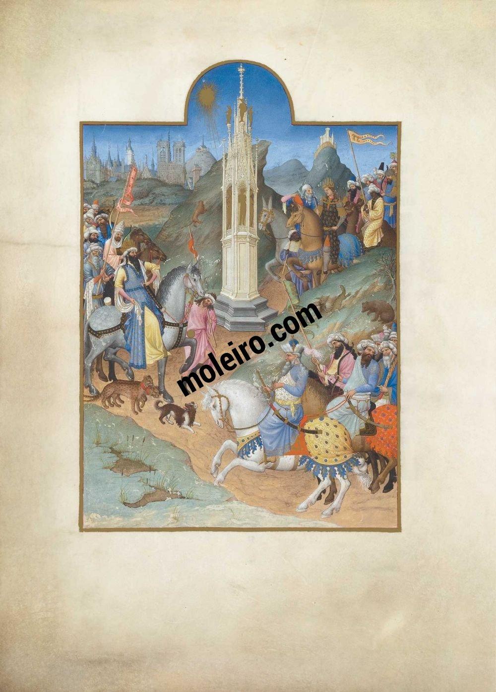 DieTrès Riches Heures du Duc de Berry f. 51v, Treffen der Magier