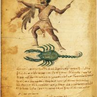 Orion and Scorpion from Theriaka and Alexipharmaka by Nicander, medieval medical illuminated manuscript, Bibliothèque nationale France