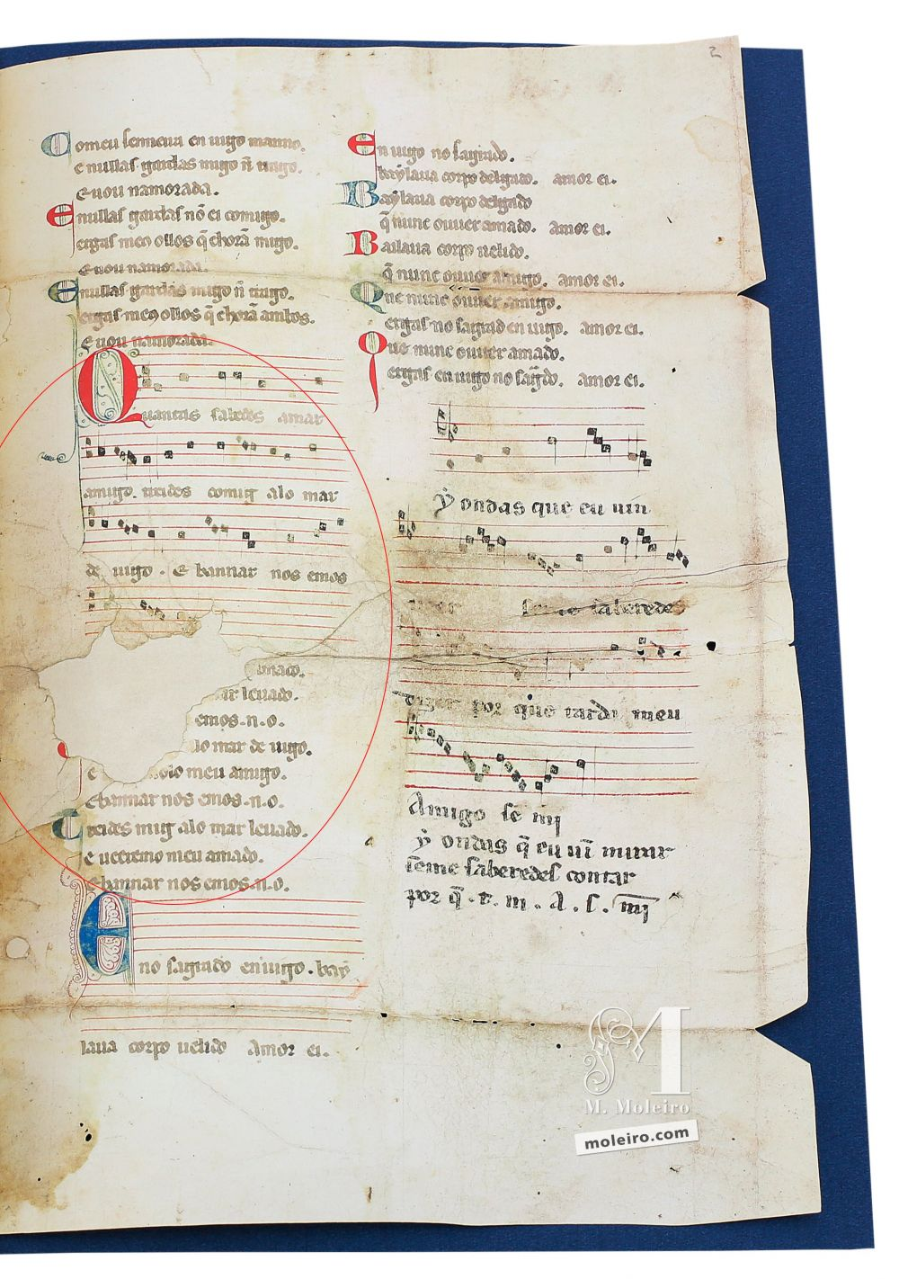 Cantiga 5 of the Vindel Parchment by Martin Codax ms. m979 - The Morgan Library & Museum, New York